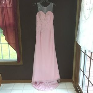 Dresses & Skirts - Stunning Pink Sleeveless Illusion Top Gown